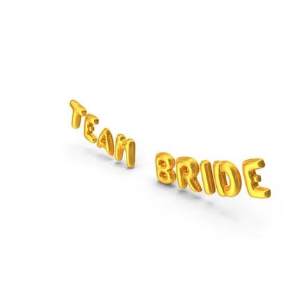 Lámina de globo palabras del equipo de la novia oro