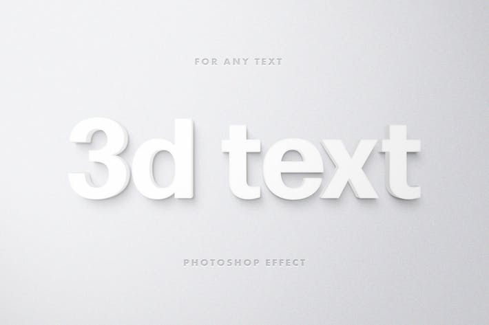 White 3D Text Effect for Photoshop