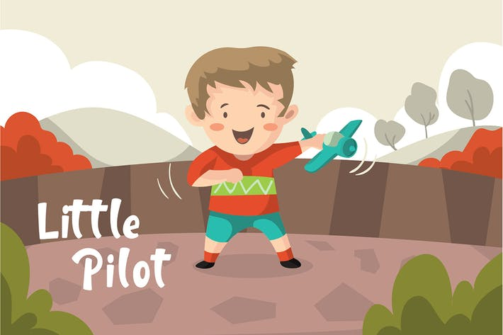 Thumbnail for Little Pilot - Vector Illustration