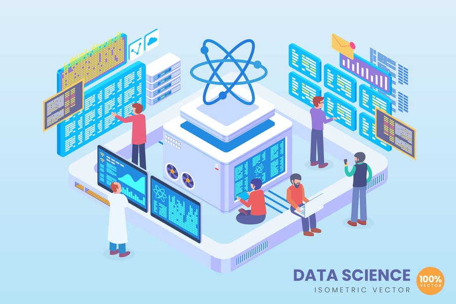 Isometric Data Science Vector Concept