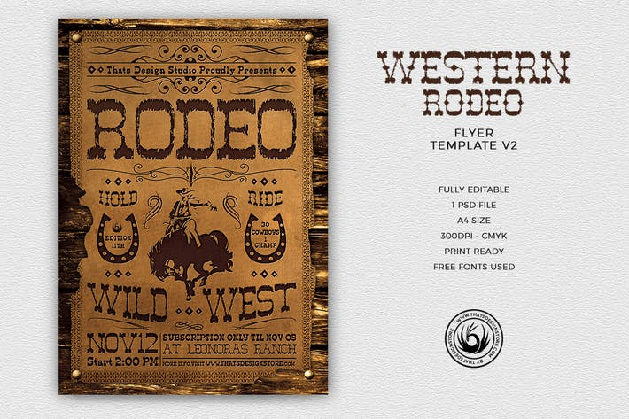 Thumbnail for Western Rodeo Flyer Template V2