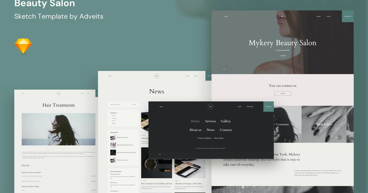 Download Mykery - Beauty Salon Sketch Template by adveits
