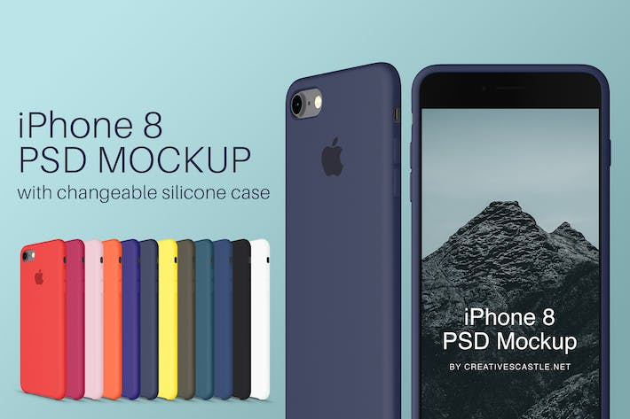 Thumbnail for iPhone 8 PSD Mockup + Silicone Cases