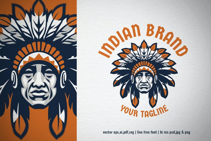 Thumbnail for indian chief head logo with editable text