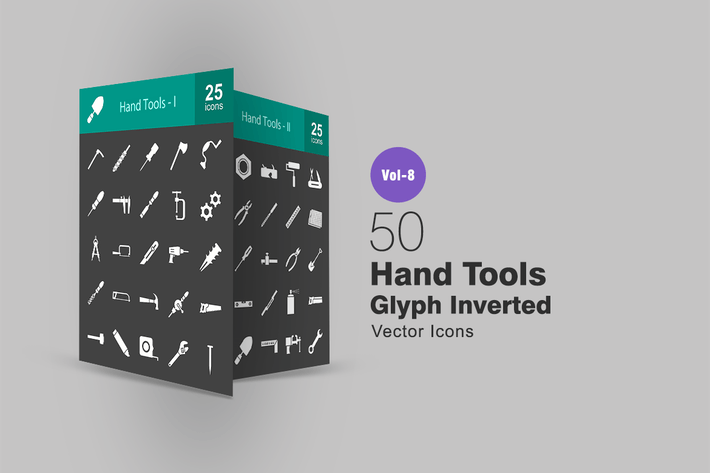 Thumbnail for 50 Hand Tools Glyph Inverted Icons