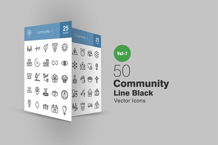 Thumbnail for 50 Community Line Icons