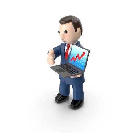 Hombre de negocios de dibujos animados con cuaderno