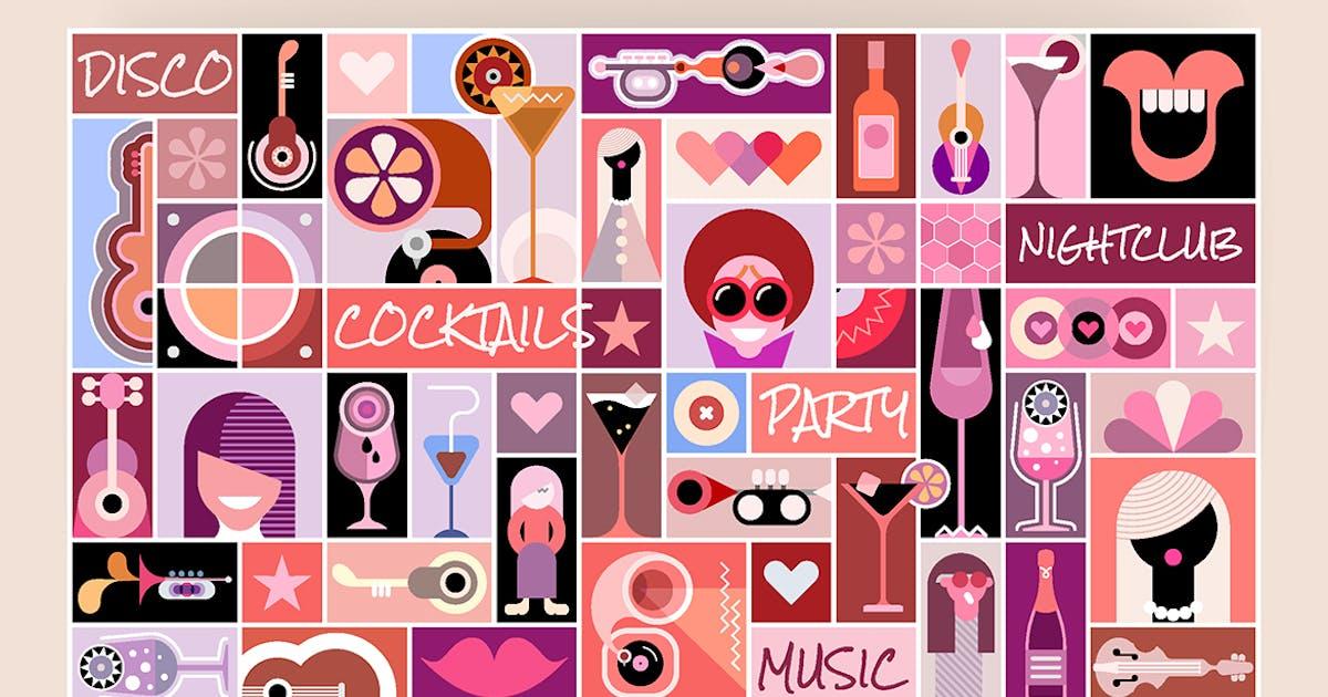 Download Disco Party pop art vector illustration by danjazzia