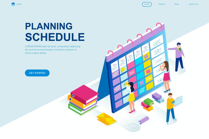 Thumbnail for Planning Schedule Isometric Landing Page Template