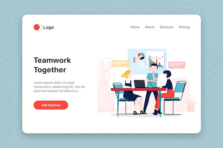 Thumbnail for Teamwork together flat concept for Landing page