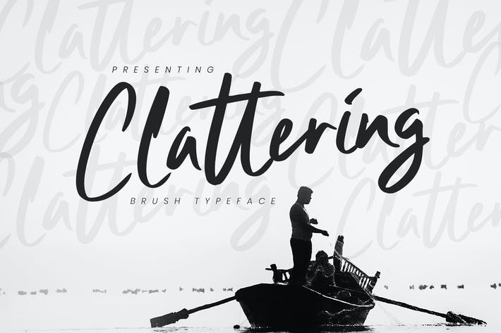 Thumbnail for Clattering Brush Typeface