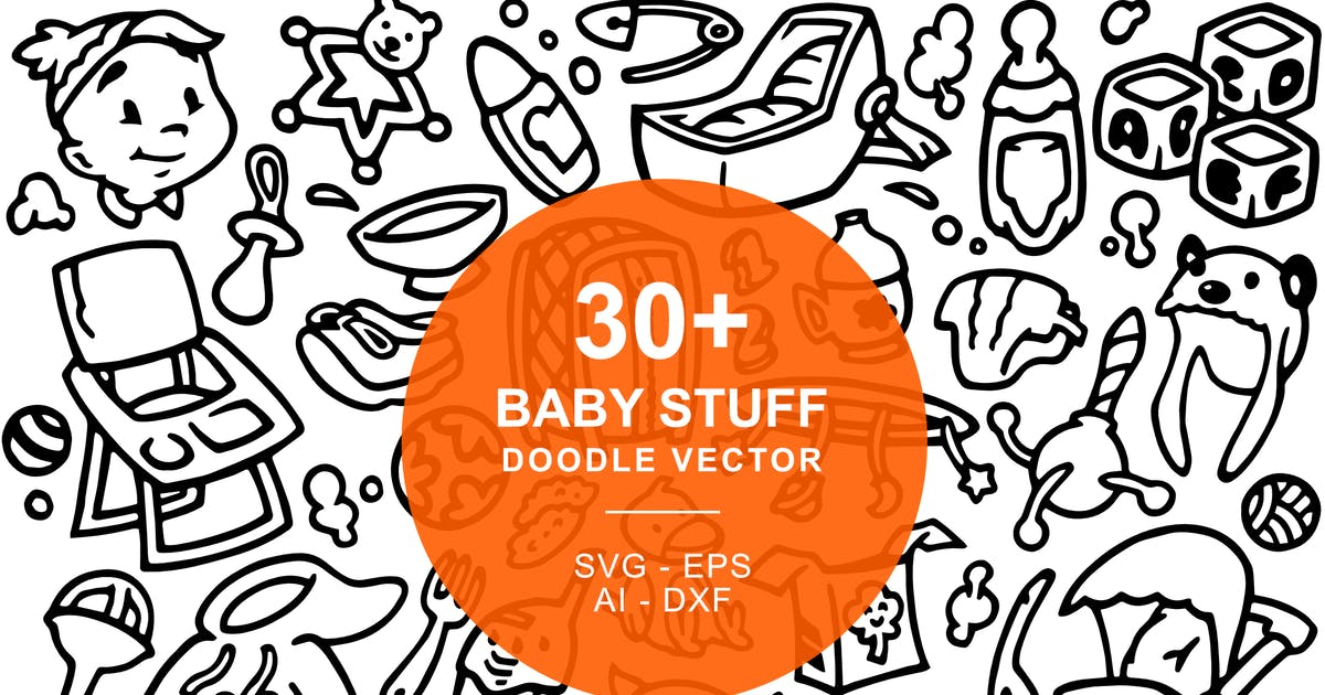 Download Baby Stuffs Doodle Art Illustration by yipianesia