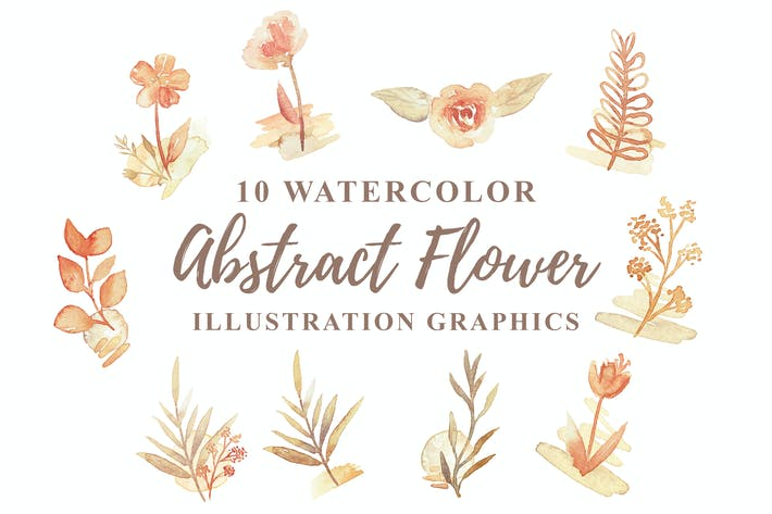 Thumbnail for 10 Aquarell Abstrakte Blume Illustration