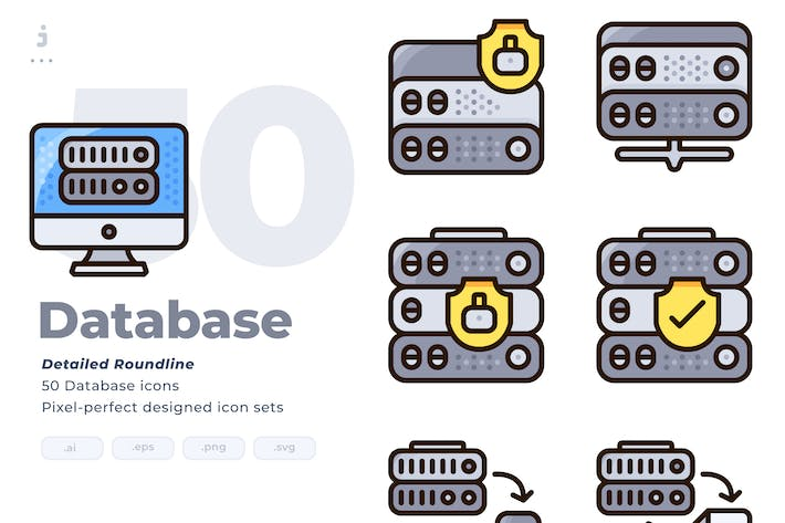 Thumbnail for 50 Database Icon set - Detailed Round line