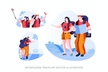 Conjunto de caracteres Vector de viajero para mochilero