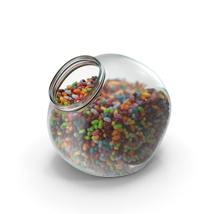 Sphärisches Glas mit Jelly Beans