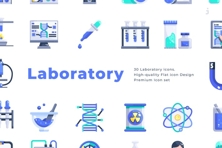 Thumbnail for 30 Laboratory Icons - Flat
