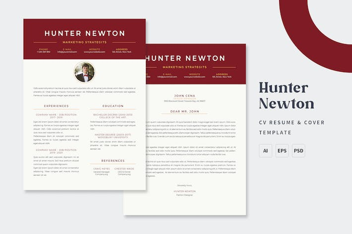 Thumbnail for Hunter - CV & Resume Templates