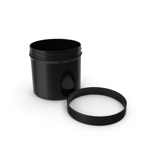 Black Plastic Jar Wide Mouth Straight Sided 12oz Cap Laying
