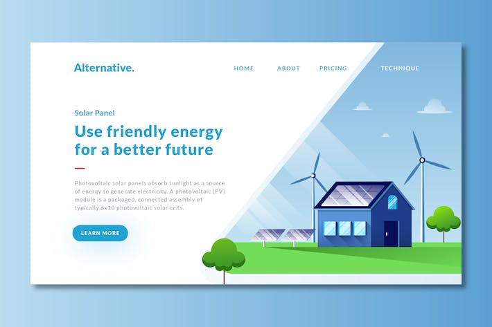 Thumbnail for Solar Panel - Landing Page Template