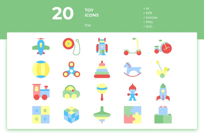 Thumbnail for 20 Toys Icons (Flat)