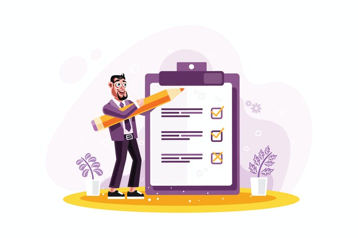 Thumbnail for Geschäftsmann markiert Checkliste auf einem Zwischenablage Papier