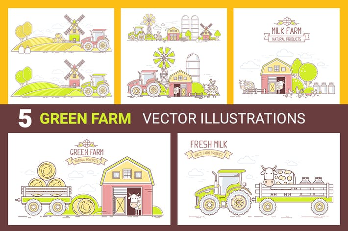 Thumbnail for Grüne Farm-Illustrationen
