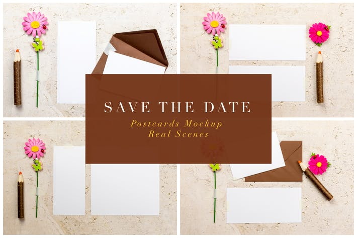 Thumbnail for Save The Date Postcards Mockup