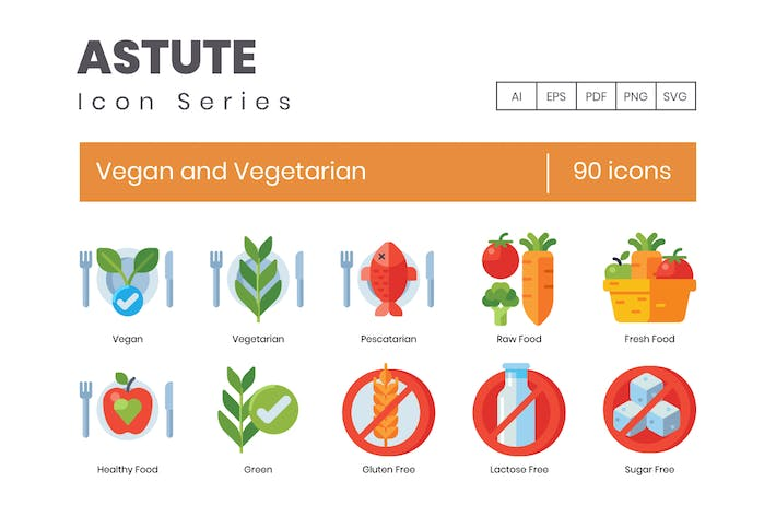 90 Vegan and Vegetarian Icons - Astute Series