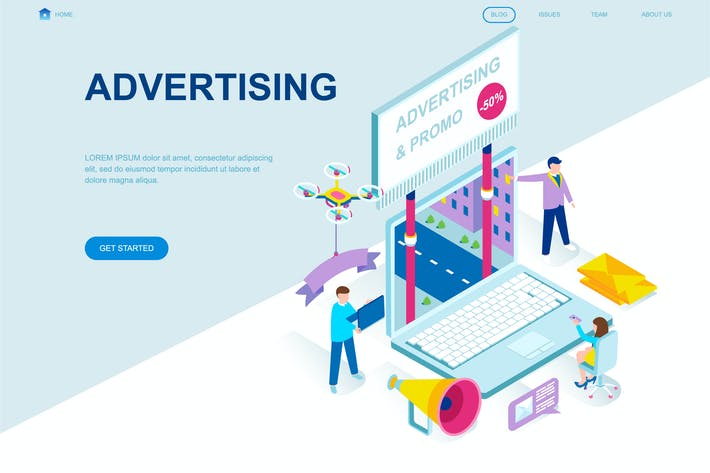 Thumbnail for Advertising Isometric Landing Page Template