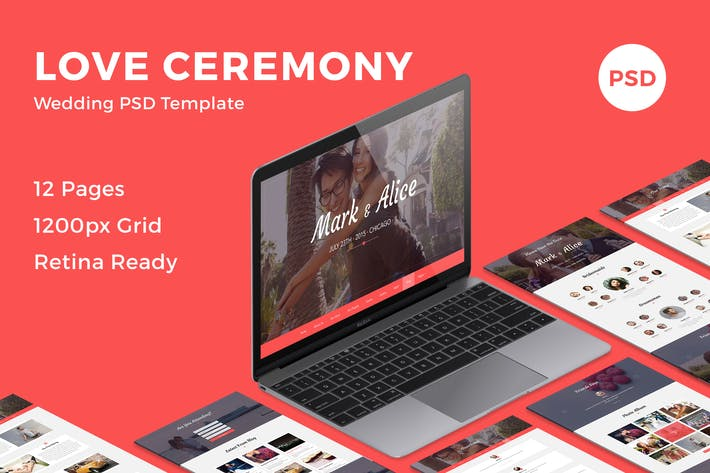 Thumbnail for Love Ceremony - Wedding PSD Template