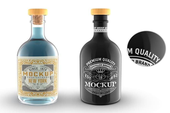 Thumbnail for Clear and black Glass Liquor Bottle Mockup
