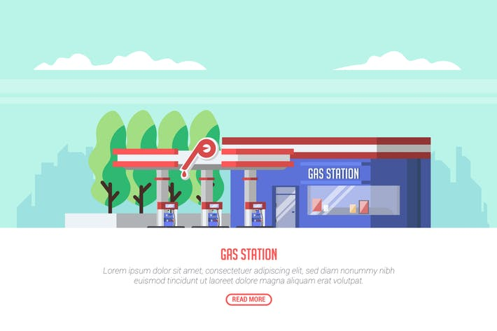 Thumbnail for Gas Station - Vector landscape & Building