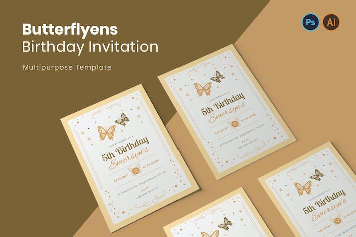 Thumbnail for Invitation d'anniversaire papillon
