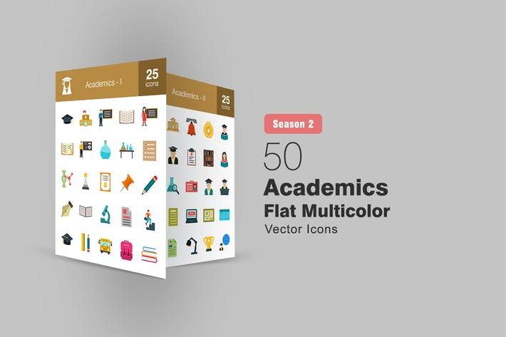 50 Academics Flache Multicolor Icons Saison II