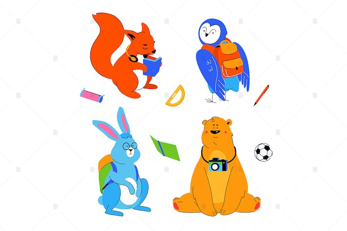 Thumbnail for Animals students - flat design characters set
