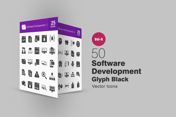 50 Software Development Glyphe Icons