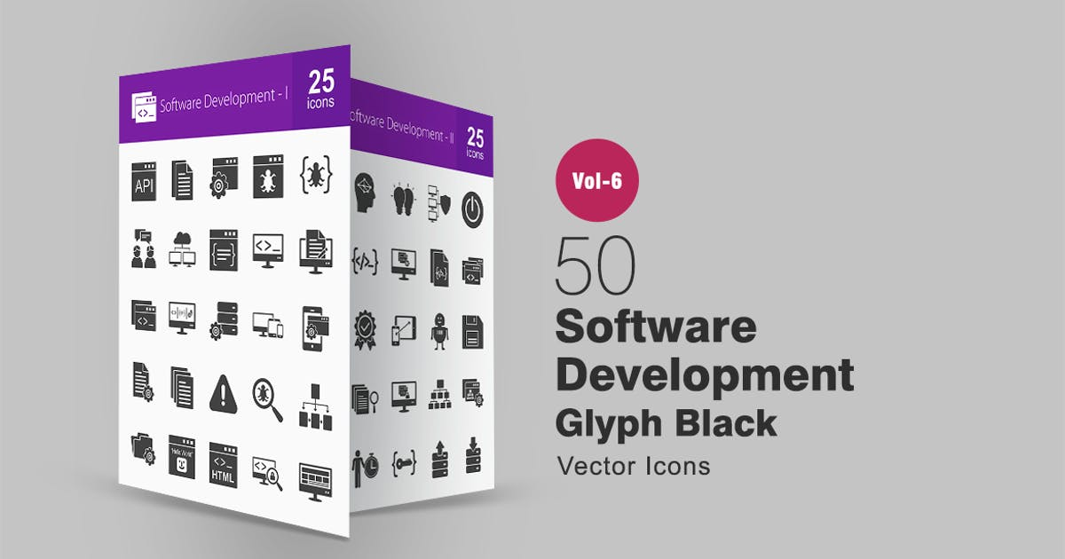 Download 50 Software Development Glyph Icons by IconBunny
