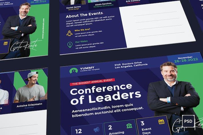 Thumbnail for Modèle de carte postale de conférence PSD