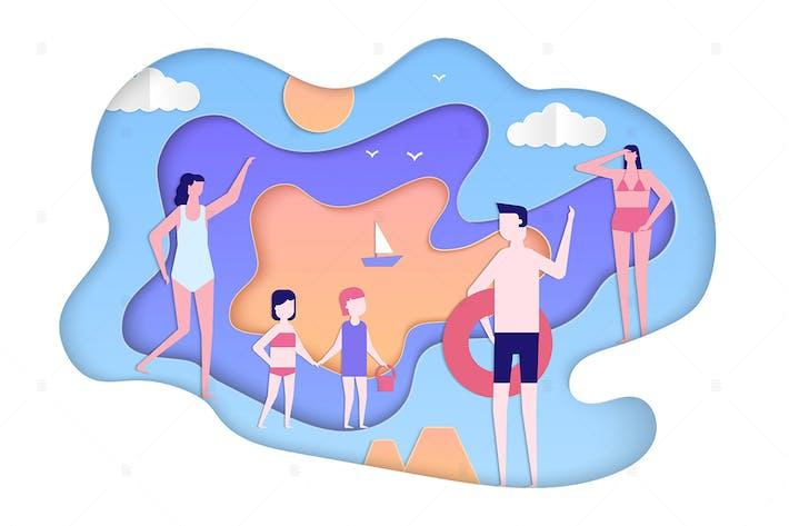 Thumbnail for Летний праздник - современная бумага вырезать иллюстрации