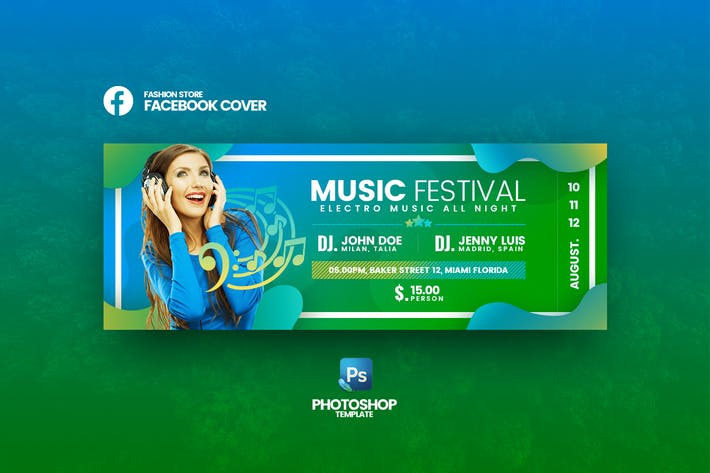 Music Festival Facebook Cover Template