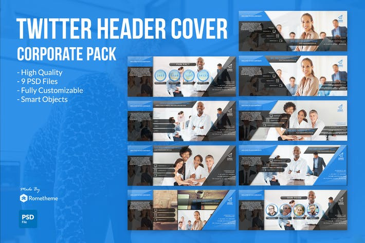 Thumbnail for Corporate Twitter Headers Cover vol.1