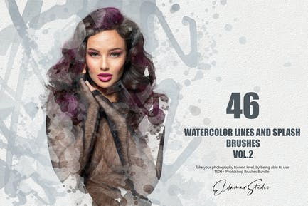 46 Watercolor Lines and Splash Brushes - Vol. 2