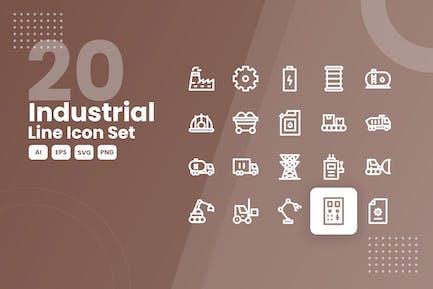 20 Industrielle Linie Icon Set