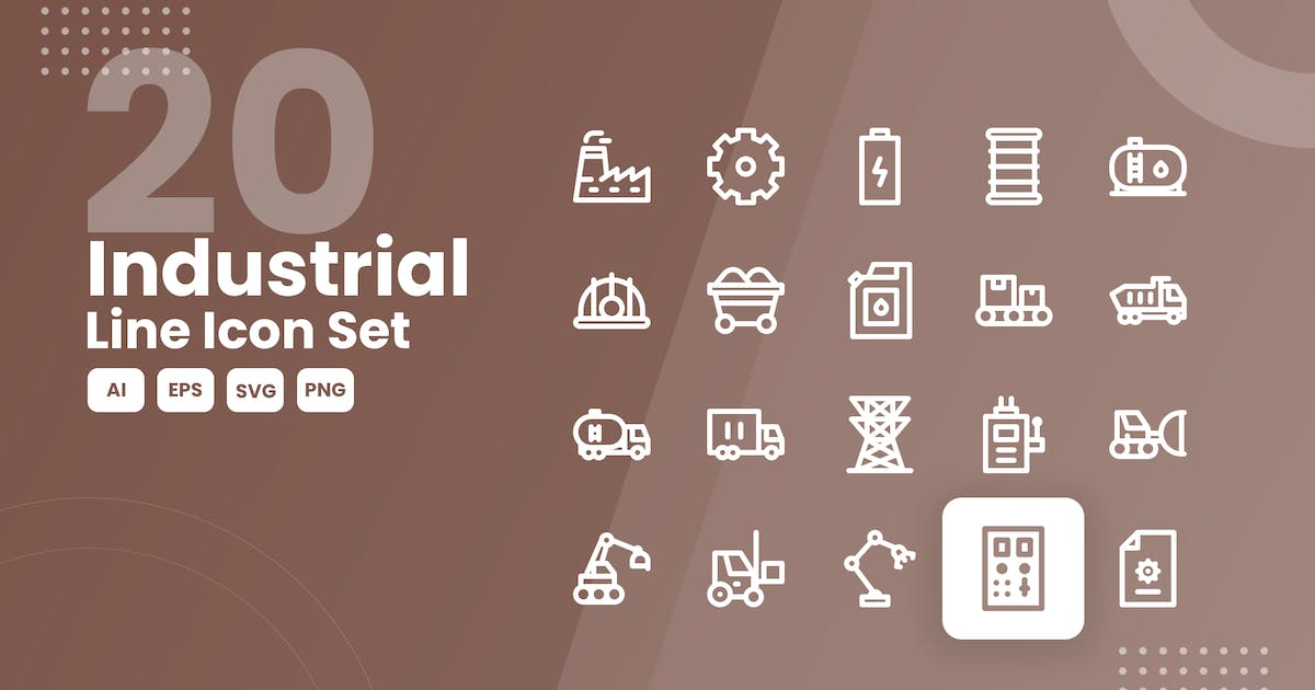 Download 20 Industrial Line Icon Set by studiotopia