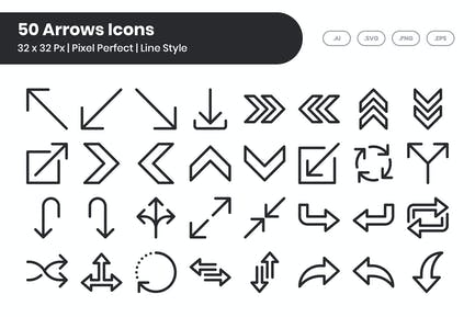 50 Pfeil-Symbole eingestellt - Linie