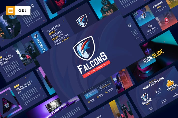 Thumbnail for Falcons - Esport & Gaming Google Slides Template