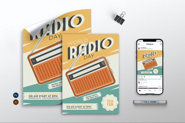 Thumbnail for World Radio Day vol.02 - Flyer, Poster & IG TY
