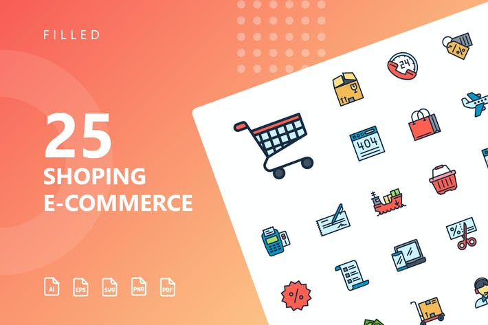 Thumbnail for Shopping E-Commerce Filled Icons