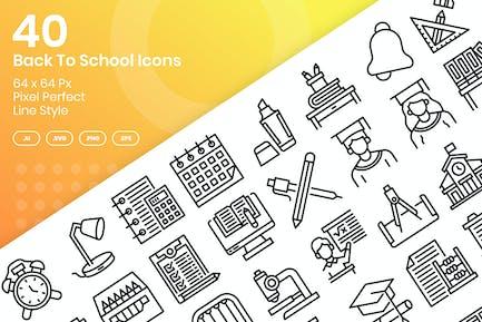 40 Zurück zur Schule Icons Set - Linie